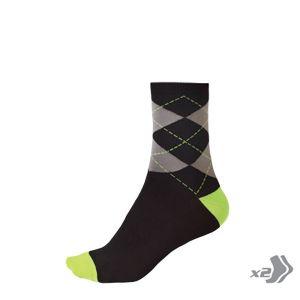 Endura Argyll Sock (Twin Pack) - (Hi-Viz Green)