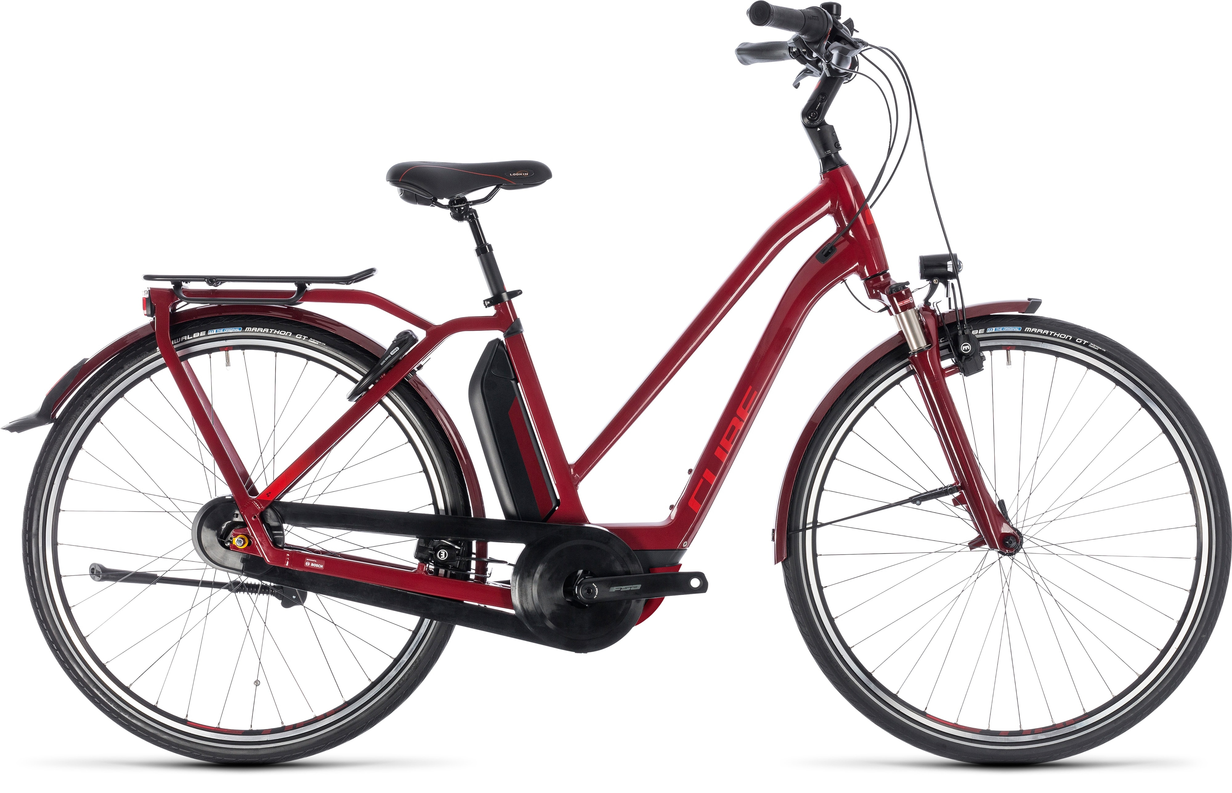 Cube Town Hybrid Pro 400 Trapeze 2018 Electric Bike Dark Red/Red